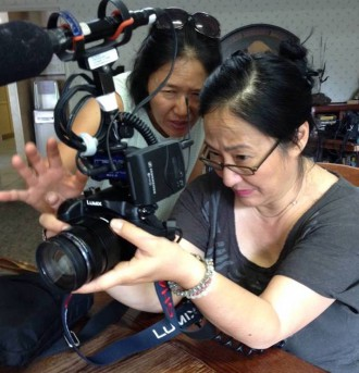 """Wisdom Gone Wild"" Director of Photography Ann Kaneko with Director Rea Tajiri. ""Wisdom Gone Wild"" is one of the recipients of the Spring 2016 CAAM Documentary Fund Awards. Photo courtesy of Rea Tajiri."