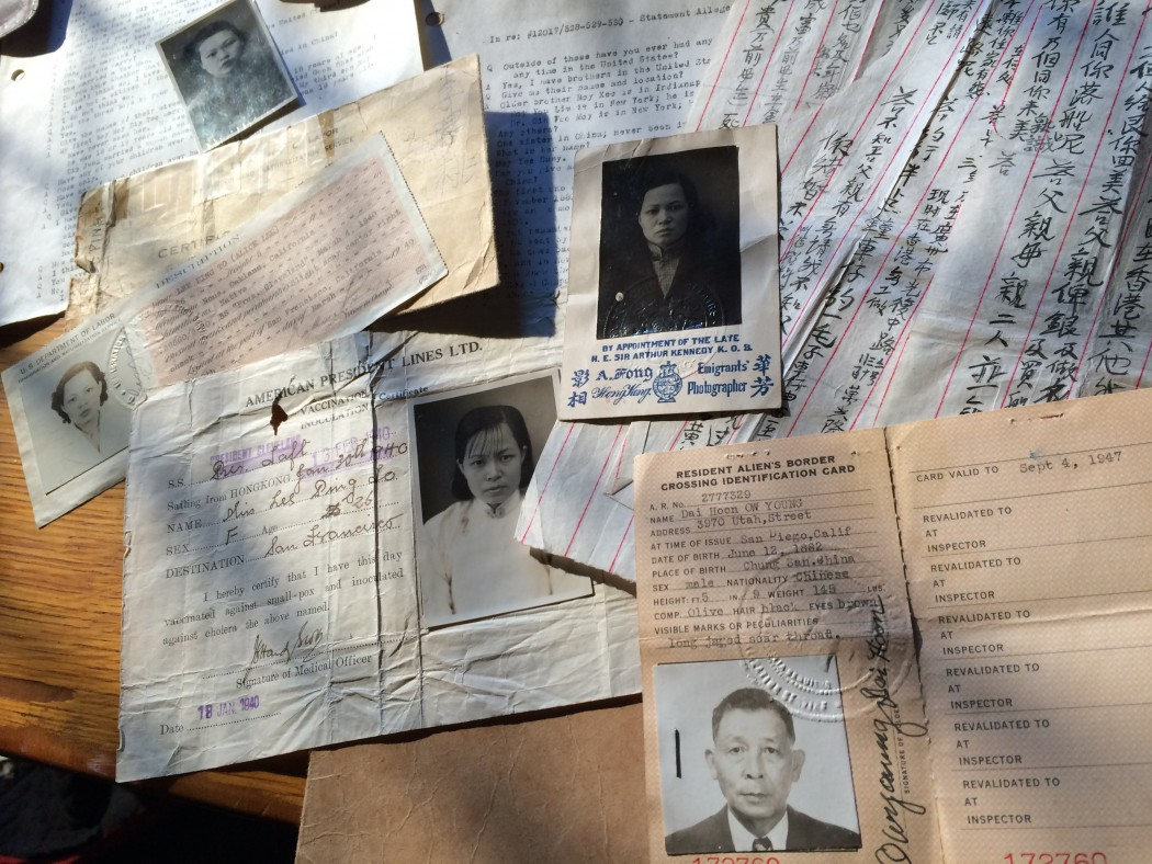 Behind-the-scenes photo from THE CHINESE EXCLUSION ACT documentary production. Border identification documents created for entry into the United States at Angel Island. Photo by Producer Robin Espinola.