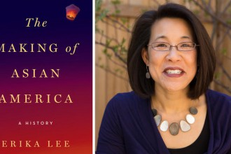 """The Making of Asian America"" book cover, left, and author Erika Lee, right. Photo by Mark Buccella for Simon & Schuster."