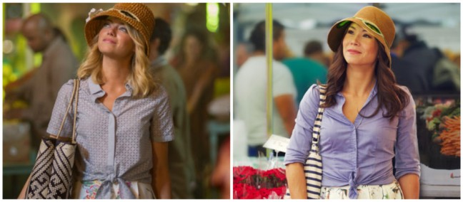 Emma Stone in Aloha (left) next to Michelle Villemaire on the right in the Correcting Yellowface project. Photo by Matt Dusig.
