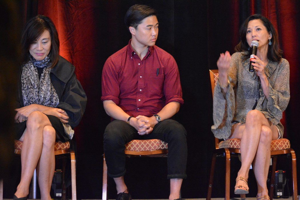 Tamlyn Tomita shares her career experience as an Asian American woman working in Hollywood.  L-R: Janet Yang, William Yu (founder of #StarringJohnCho) and Tamlyn Tomita. Photo by Gil Asakawa, AARP.org/aapi