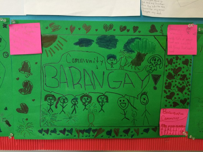 A poster adorns the wall of a FLES classroom, where students are taught Filipino language and culture.