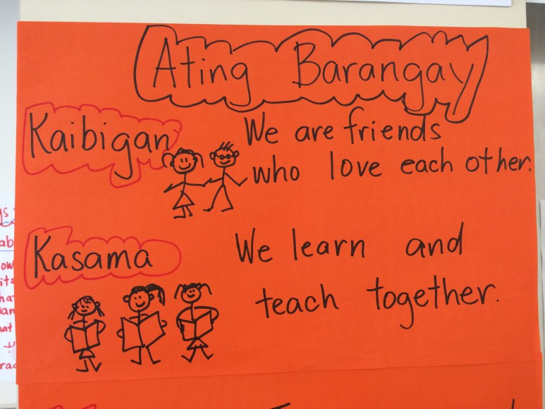 A poster adorns the classroom that includes lessons in Tagalog and about Filipino history and culture.
