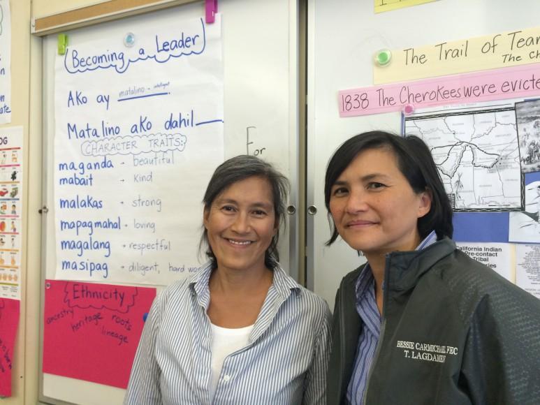 A FLES teacher with Principal Tina Lagdamen (right) of Bessie Carmichael/FEC Elementary in San Francisco.