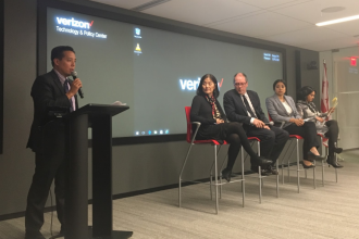 """NCAPA's Christopher Kang opens a panel discussion following a preview of """"The Chinese Exclusion Act"""" in Washington, D.C. Oct. 26."""