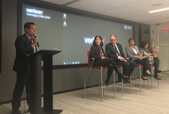 "NCAPA's Christopher Kang opens a panel discussion following a preview of ""The Chinese Exclusion Act"" in Washington, D.C. Oct. 26."