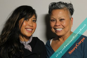 Alleluia Panis, the Artistic & Creative Director of Kularts, and Irene Faye Duller, a Filipina artist, record a StoryCorps session in San Francisco.