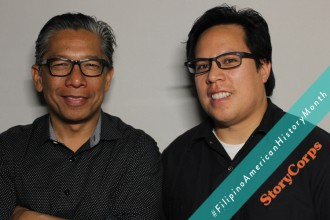 Allan Manalo and Oliver Saria record in the San Francisco StoryCorps booth.