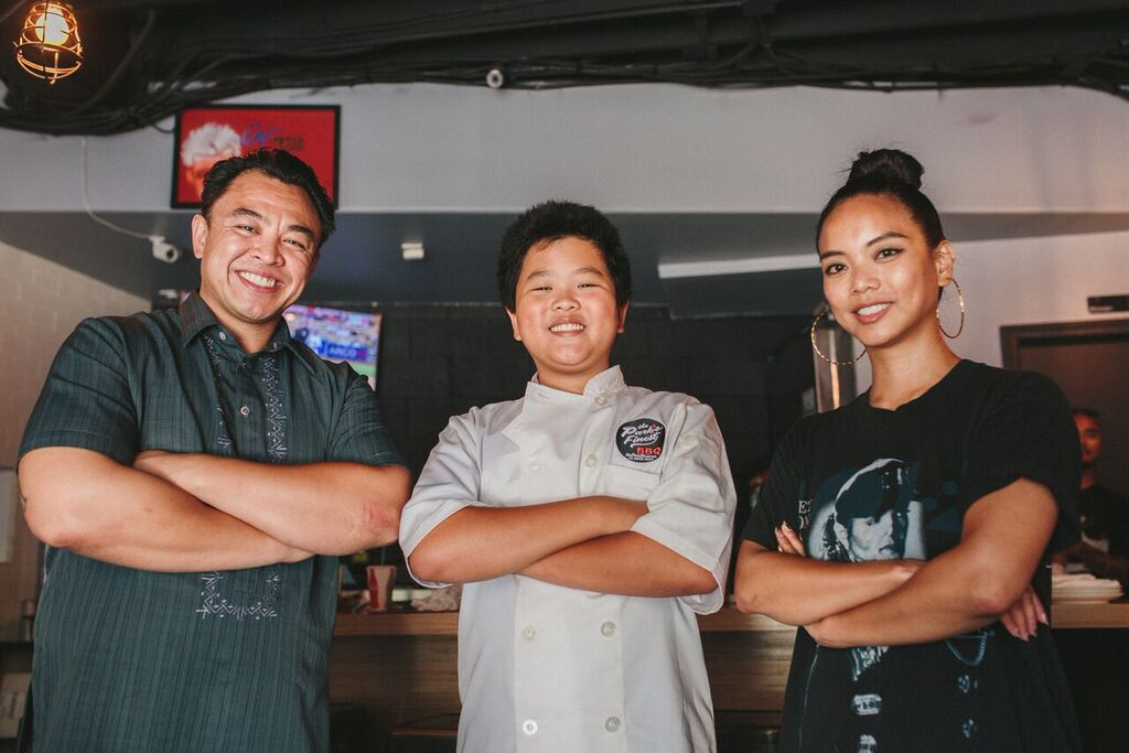 Hudson Yang with The Park's Finest co-owners Johneric Concordia and Christine Araquel-Concordia.