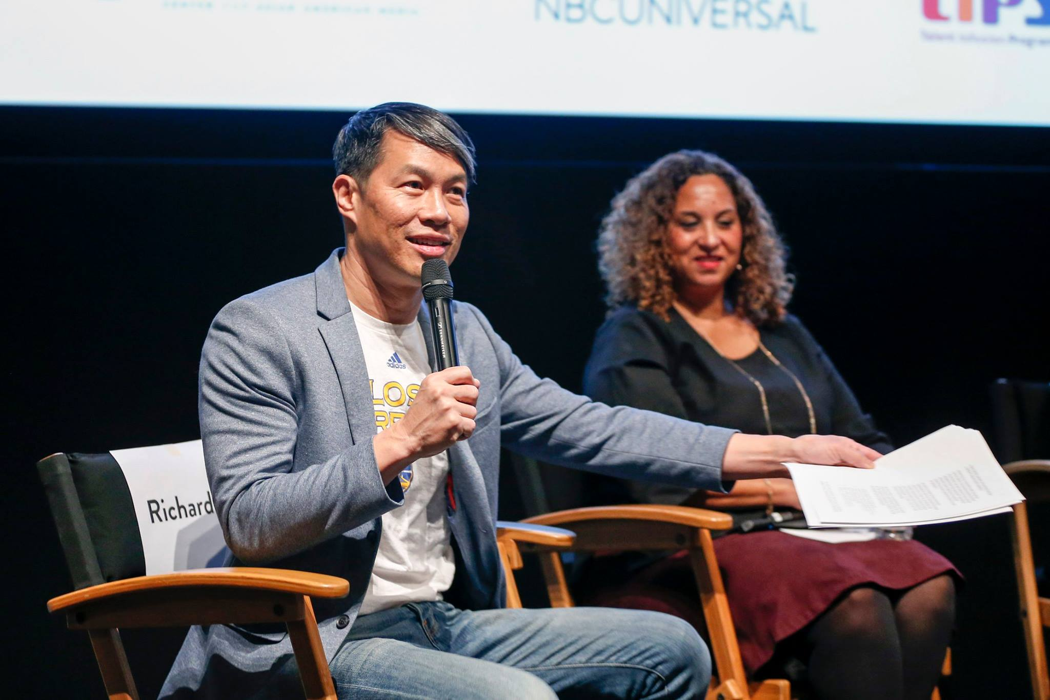 Moderator Richard Lui, MSNBC anchor, with panelist Karen Horne, Senior Vice President, Programming Talent Development and Inclusion for NBC Entertainment and Universal Television Studios. Photo by Rich Polk/Getty Images.