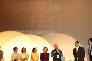 DAZE OF JUSTICE director Michael Siv and subjects from DAZE OF JUSTICE on stage at the film's world premiere in at CAAMFest 2016. Photo by Leanne Koh.