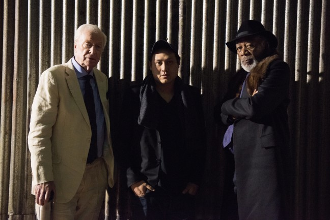 Jon M. Chu on the set of Now You See Me 2 with Michael Caine and Morgan Freeman. Photo Credit: Lionsgate/Kevin Stypulkoski