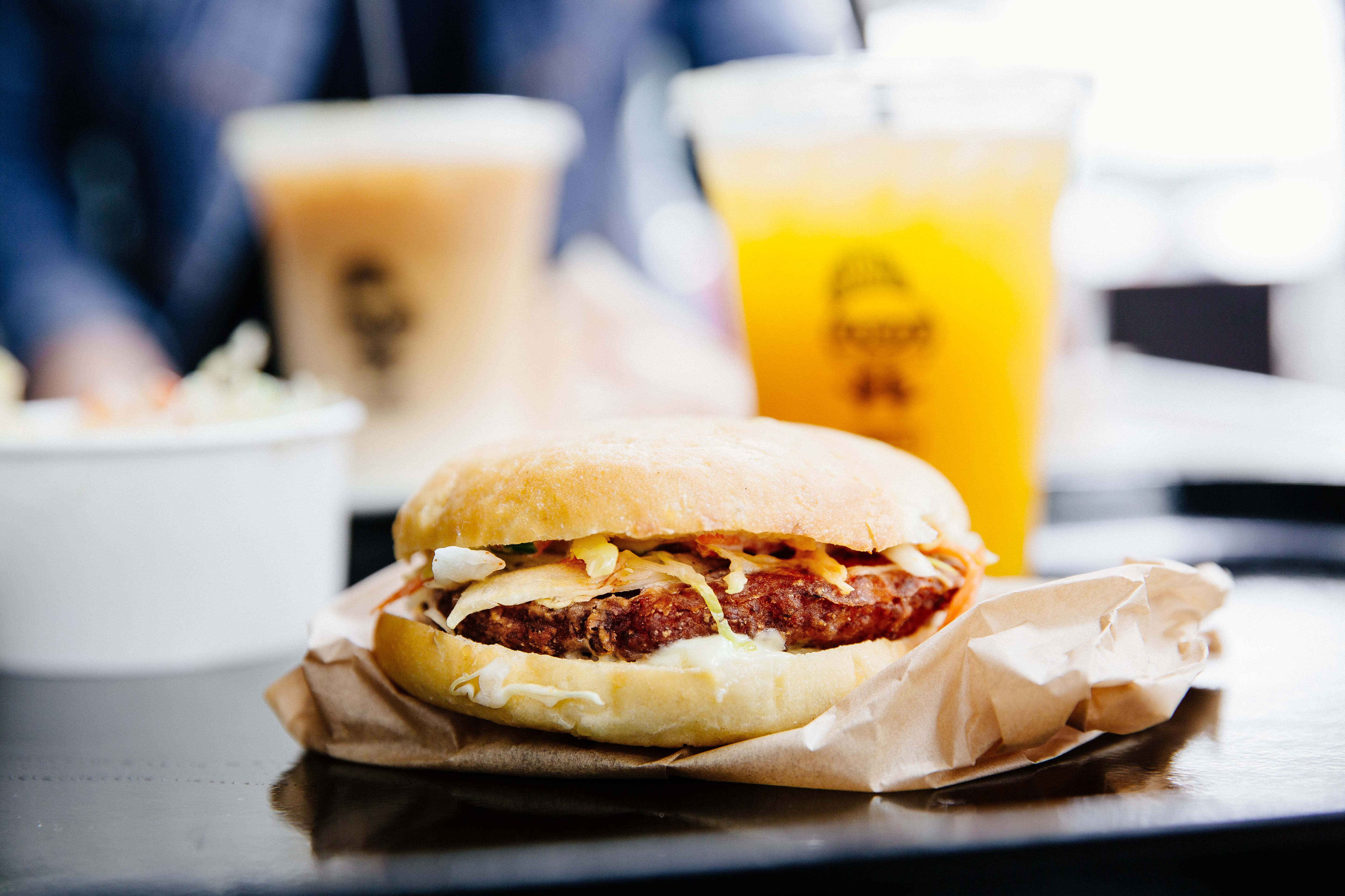 The fried chicken burg and agua fresca at LocoL. Photo by Audrey Ma, courtesy of LocoL.
