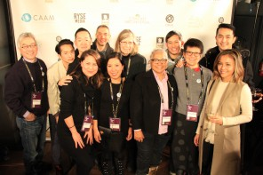Asian American filmmakers with CAAM staff and board members at Sundance. Photo by Abraham Ferrer.