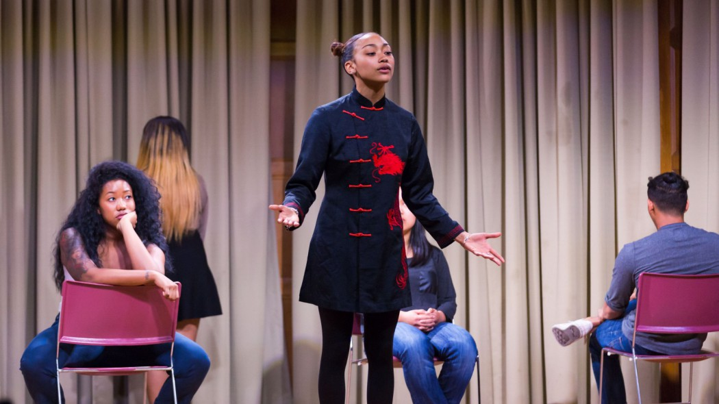 """Director Jivan Atman lifts performance as testimony in a multimedia presentation that emerged from a collaboration between Morehouse and Spelman College students in """"Blasian Narratives."""""""