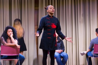 "Director Jivan Atman lifts performance as testimony in a multimedia presentation that emerged from a collaboration between Morehouse and Spelman College students in ""Blasian Narratives."""