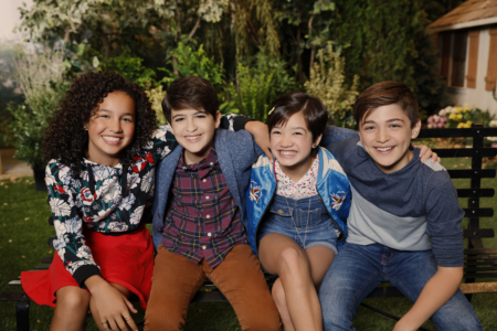 "ANDI MACK - Disney Channel's ""Andi Mack"" stars Sofia Wylie as Buffy, Joshua Rush as Cyrus, Peyton Elizabeth Lee as Andi and Asher Angel as Jonah. (Disney Channel/Craig Sjodiin)"