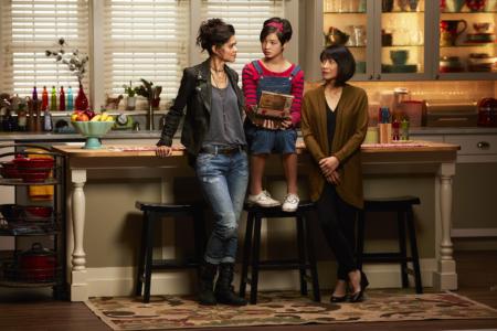 "ANDI MACK - Disney Channel's ""Andi Mack"" stars Lilan Bowden as Bex, Peyton Elizabeth Lee as Andi and Lauren Tom as Celia. (Disney Channel/Craig Sjodiin)"