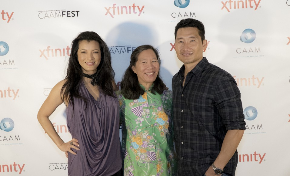 "Kelly Hu, Robin Lung and Daniel Dae Kim at the ""Finding Kukan"" screening. Photo by Gabe Chewy for CAAM."
