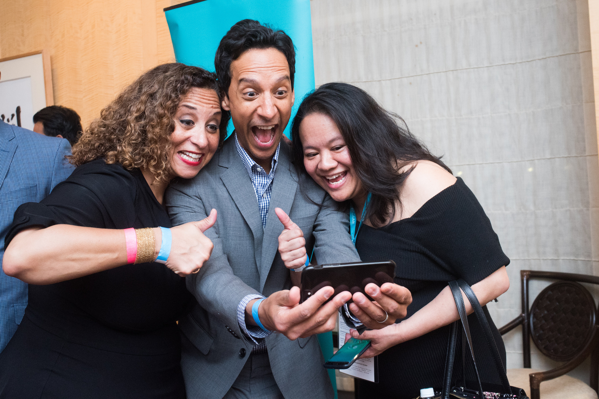 Karen Horne, Danny Pudi and Christine Chen at #CAAMFest35 Opening Night gala. Photo by Jay Jao for CAAM.