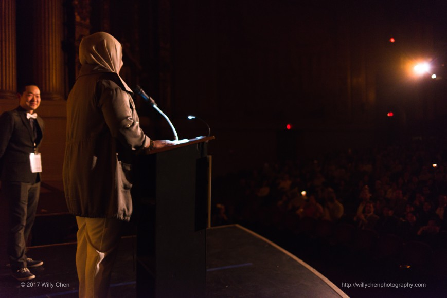 "Filmmaker Lena Khan at the Opening Night film, ""The Tiger Hunter."" Photo by Willy Chen for CAAM."