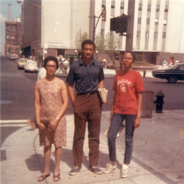 Columbus Circle, NYC, c. 1966 -- Nell, Elrick and Paula Madison the Summer after his freshman year at college and as Madison was entering high school. Rare trip to Midtown Manhattan with her mother who mostly stayed in their apartment or on their tenement's stoop.