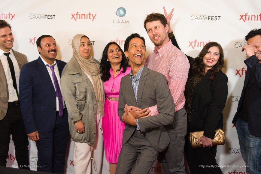 """The cast and crew of """"The Tiger Hunter"""" at CAAMFest 2017 Opening Night on March 9, 2017. Photo by Willy Chen for CAAM."""