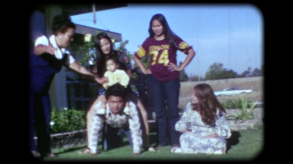 Film still of Bohulano family pyramid. Courtesy of Dawn Bohulano Mabalon, Memories to Light, Center for Asian American Media.