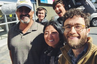 Mustafa Rony Zeno, bottom right, with a K-TOWN '92 subject (far left), filmmaker Grace Lee and K-TOWN '92 production team.
