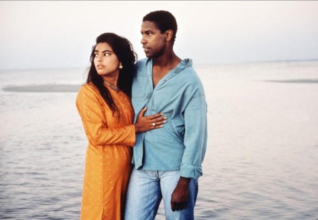 "Sarita Choudhury and Denzel Washington in Mira Nair's ""Mississippi Masala."""