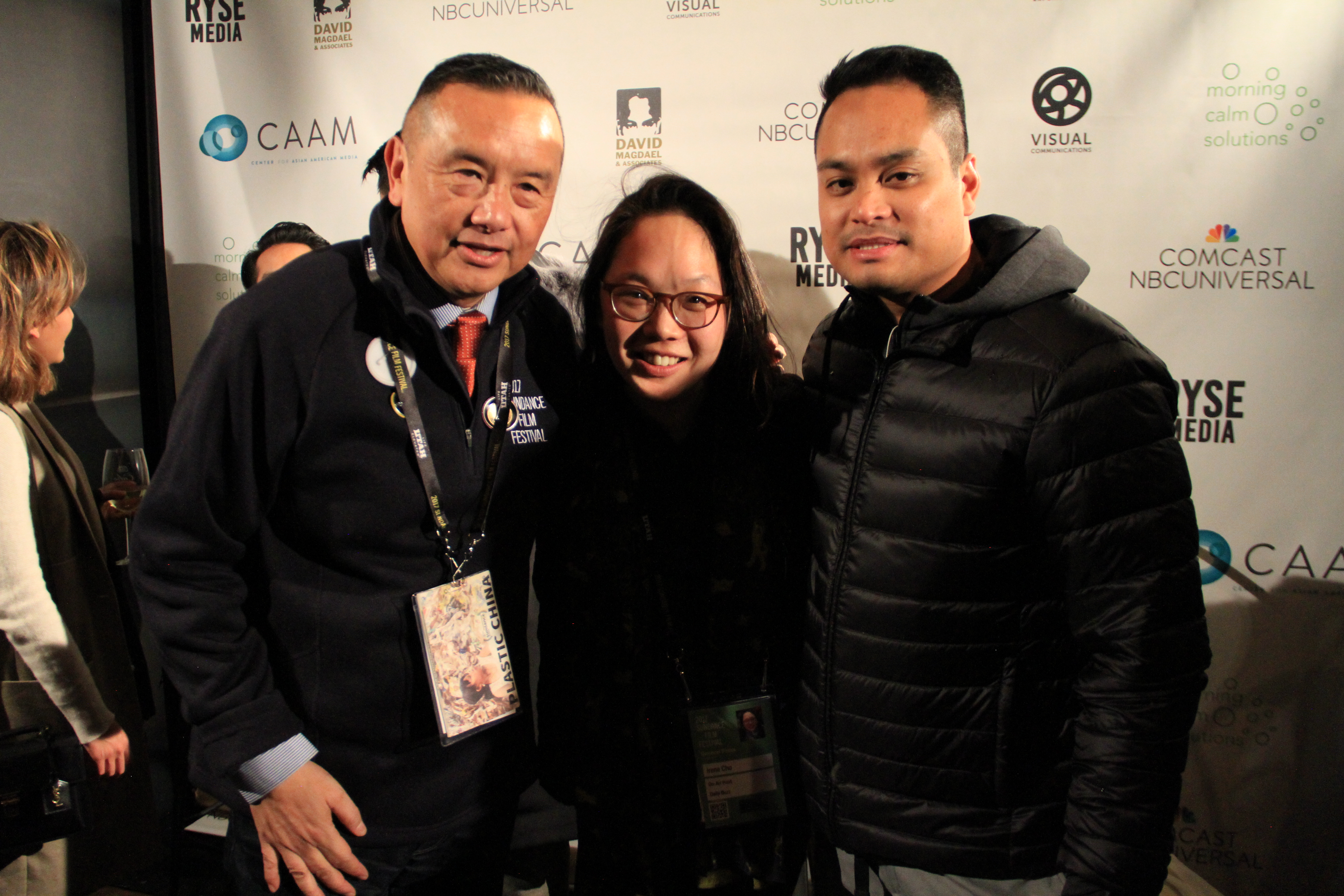 Irene (center) with David Magdael, David Magdael & Associates, Inc., (left) and Francis Cullado, Visual Communications (right) at the APA Filmmakers Experience, Sundance 2017. Photo courtesy of Abe Ferrer.
