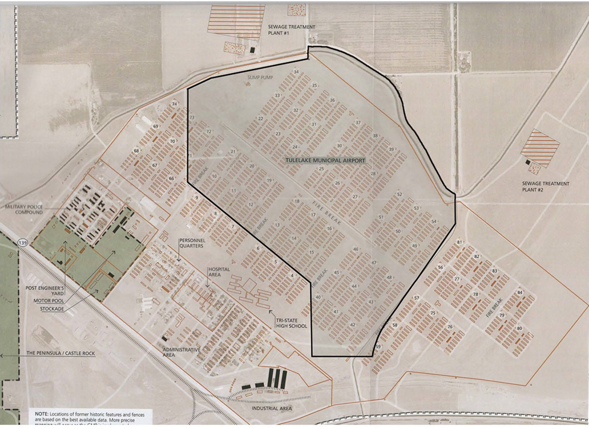 Map showing the brown lines and boundaries of the Tule Lake Segregation Center (brown lines), the green shading of the Tule Lake National Historic Landmark, and the black boundary of the Tulelake airport, which sits on two-thirds of site.