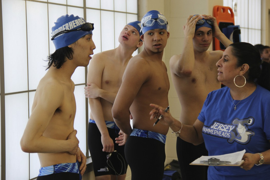 Swim Team Coach - Founder Maria McQuay with team members Kelvin Truong, Robert Justino, Mike McQuay, Jr. and Hayden Schumann. PBS Airdate: Season 30 of POV October 2, 2017. Photo by Nicole Chan