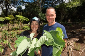 """Lana'i"" episode with ""Family Ingredients"" host Chef Ed Kenney and hula dancer and hunter Anela Evans. © Renea Veneri Stewart"