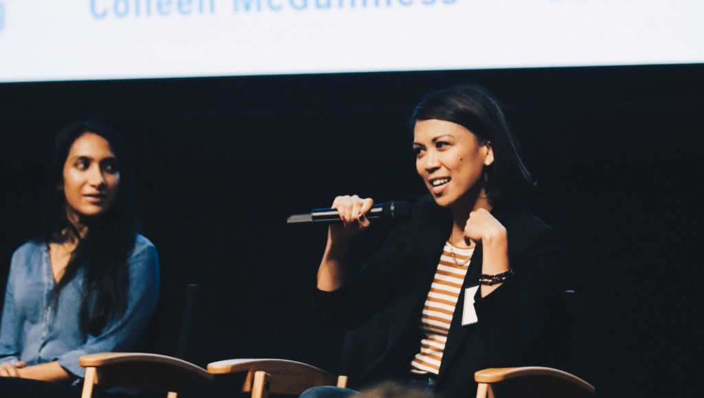 "Tess Paras (right) and Geeta V. Patel on ""Wake, Play, Slay: Asian American Women in Comedy"" panel."