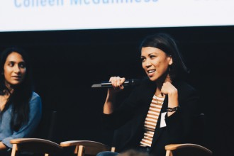 """Tess Paras (right) and Geeta V. Patel on """"Wake, Play, Slay: Asian American Women in Comedy"""" panel."""
