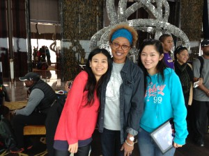 Paula Madison meets extended family members in Shenzhen, China in 2012.
