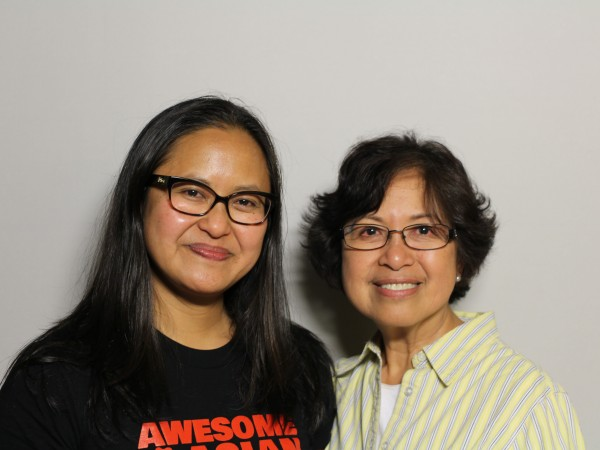 Marissa Aroy with her mother Marcy Aroy at the StoryCorps booth.