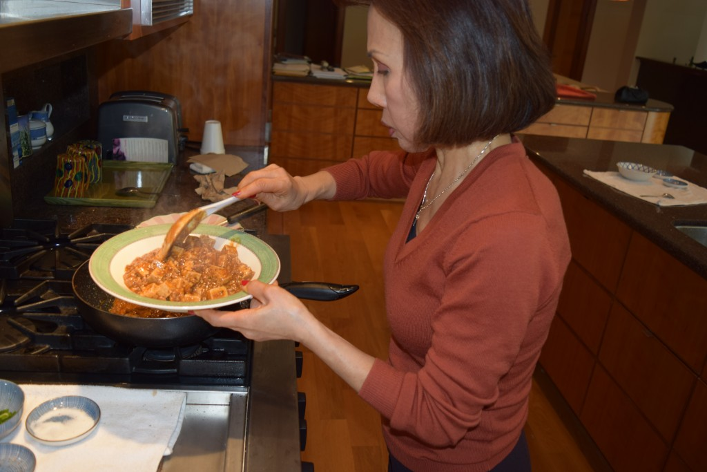 Mama Chiu of Banyan Food Co. makes mapo tofu.