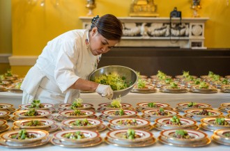 Photo credit: White House Executive Chef Cris Comerford prepares dishes of Quinoa Black Bean and Corn Salad for the Epicurious Kids' State Dinner in the Old Family Dining Room of the White House, Aug. 20, 2012. (Official White House Photo by Sonya N. Hebert)