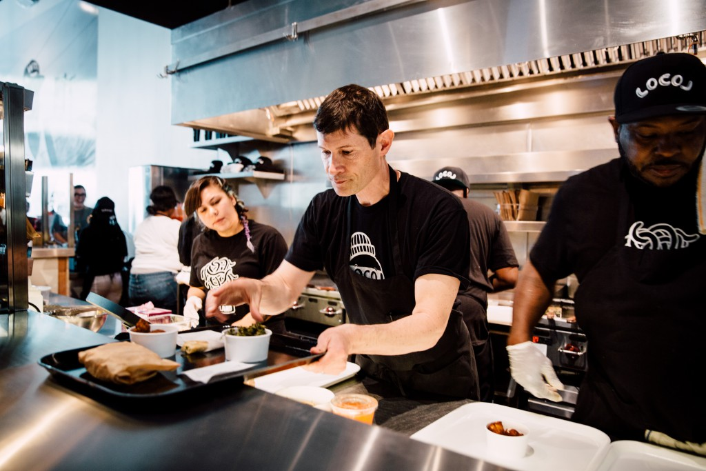 Daniel Patterson in the kitchen of Oakland's first LocoL. Photo by Audrey Ma.