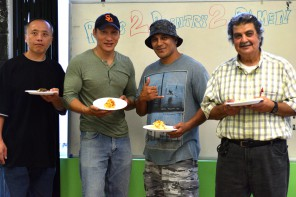 Pete Thao, Eddy Zheng, Harrison Seuga, and Haro Agakian at the Roots 2 Re-entry Cook-off. Photo by Kiwi Illafonte.